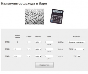 Калькулятор дохода в Sape